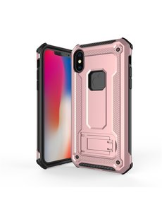 Ntech Ntech Apple iPhone Xs Max - Armor hoesje met Kickstand - Rose Goud