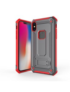 Ntech Ntech Apple iPhone Xs Max - Armor Hoesje met Sta-Functie - Grijs & Rood