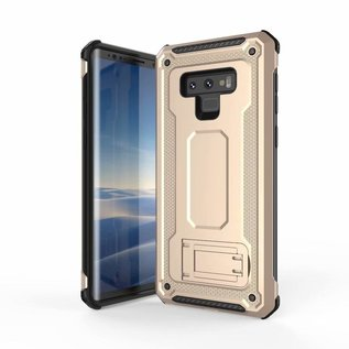 Ntech Ntech Samsung Galaxy Note 9 Dual layer Rugged Armor hoesje met Sta-Funtie /  Hard PC & TPU Hybrid case - Goud