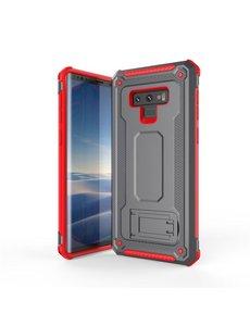 Ntech Ntech Samsung Galaxy Note 9 Armor hoesje met Kickstand Grijs & Rood