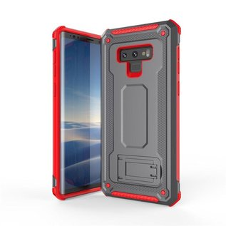 Ntech Ntech Samsung Galaxy Note 9 Dual layer Rugged Armor hoesje met Sta-Funtie /  Hard PC & TPU Hybrid case - Grijs & Rood