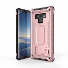 Ntech Ntech Samsung Galaxy Note 9 Dual layer Rugged Armor hoesje met Sta-Funtie /  Hard PC & TPU Hybrid case - Rose Goud
