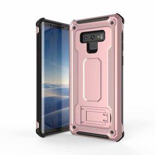 Ntech Ntech Samsung Galaxy Note 9 Dual layer Rugged Armor hoesje met Sta-Funtie /  Hard PC & TPU Hybrid case - Rose Goud