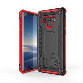 Ntech Ntech Samsung Galaxy Note 9 Dual layer Rugged Armor hoesje met Sta-Funtie /  Hard PC & TPU Hybrid case - Zwart & Rood