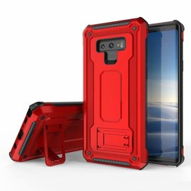 Ntech Ntech Samsung Galaxy Note 9 Dual layer Rugged Armor hoesje met Sta-Funtie /  Hard PC & TPU Hybrid case - Rood