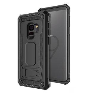 Ntech Ntech Samsung Galaxy S9 Dual layer Rugged Armor hoesje met Sta-Funtie /  Hard PC & TPU Hybrid case - Zwart
