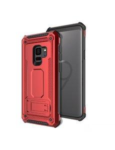 Ntech Ntech Samsung Galaxy S9 Dual layer Rugged Armor hoesje met Kickstand / Hard PC & TPU Hybride case - Rood