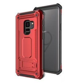 Ntech Ntech Samsung Galaxy S9 Dual layer Rugged Armor hoesje met Sta-Funtie /  Hard PC & TPU Hybrid case - Rood