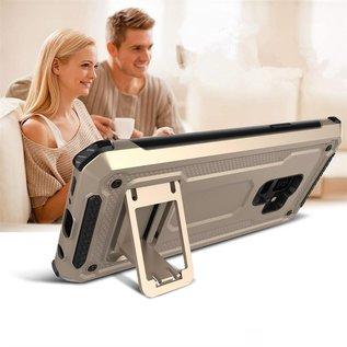 Ntech Ntech Samsung Galaxy S9 Dual layer Rugged Armor hoesje met Sta-Funtie /  Hard PC & TPU Hybrid case - Rose Goud