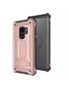 Ntech Ntech Samsung Galaxy S9 Armor hoesje met Kickstand - Rose Goud