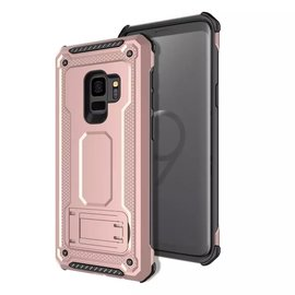 Ntech Ntech Samsung Galaxy S9 Dual layer Rugged Armor hoesje met Sta-Funtie /  Hard PC & TPU Hybrid case - Rose Goud
