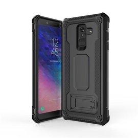 Ntech Ntech Samsung Galaxy A6 2018 Dual layer Rugged Armor hoesje met Sta-Funtie /  Hard PC & TPU Hybrid case - Zwart