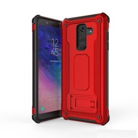 Ntech Ntech Samsung Galaxy A6 2018 Dual layer Rugged Armor hoesje met Sta-Funtie /  Hard PC & TPU Hybrid case - Rood