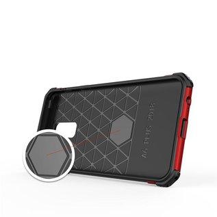 Ntech Ntech Samsung Galaxy A6 2018 Dual layer Rugged Armor hoesje met Sta-Funtie /  Hard PC & TPU Hybrid case - Zwart & Rood