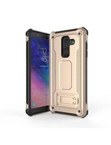 Ntech Ntech Samsung Galaxy A6 2018 Armor hoesje met Kickstand - Goud