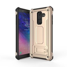 Ntech Ntech Samsung Galaxy A6 2018 Dual layer Rugged Armor hoesje met Sta-Funtie /  Hard PC & TPU Hybrid case - Goud