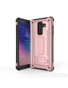 Ntech Ntech Samsung Galaxy A6 2018 Armor hoesje met Kickstand - Rose Goud