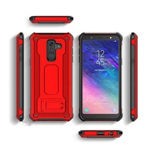 Ntech Ntech Samsung Galaxy A6 2018 Dual layer Rugged Armor hoesje met Sta-Funtie /  Hard PC & TPU Hybrid case - Rose Goud