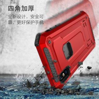 Ntech Ntech Huawei P20 Lite Dual layer Rugged Armor hoesje met Sta-Funtie /  Hard PC & TPU Hybrid case - Grijs & Rood