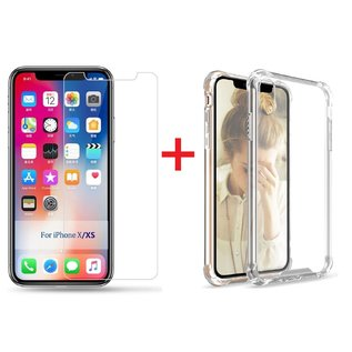 Ntech Ntech Apple iPhone Xs Screen Protector-9H Tempered Glass + Anti Shock Hoesje Transparant TPU Siliconen Soft Case