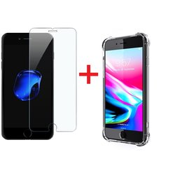Ntech Ntech Apple iPhone 8 Plus / 7 Plus Screen Protector-9H Tempered Glass + Anti Shock Hoesje Transparant TPU Siliconen Soft Case