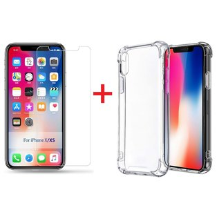 Ntech Ntech Apple iPhone Xs Max Screen Protector-9H Tempered Glass + Anti Shock Hoesje Transparant TPU Siliconen Soft Case