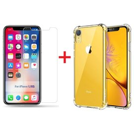 Ntech Ntech Apple iPhone Xr Screen Protector-9H Tempered Glass + Anti Shock Hoesje Transparant TPU Siliconen Soft Case