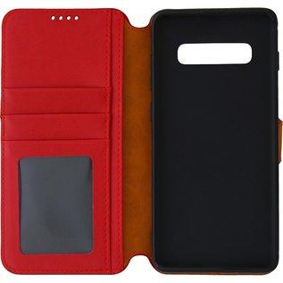 Ntech Ntech Samsung Galaxy S10+ Luxe Portemonnee hoesje Furlo Design met Sta-Functie - Rood