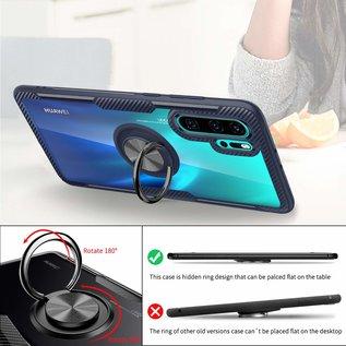 Ntech Ntech Huawei P30 Pro Luxe TPU Back Cover Met Magnetisch Ring houder - Blauw