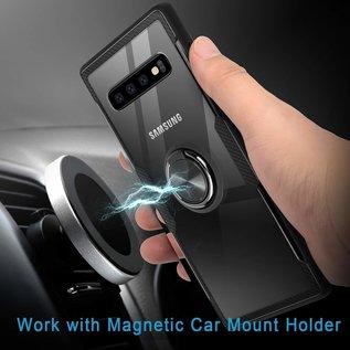 Ntech Ntech Samsung Galaxy S10 Luxe TPU Back Cover Met Magnetisch Ring houder - Zwart