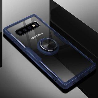 Ntech Ntech Samsung Galaxy S10 Luxe TPU Back Cover Met Magnetisch Ring houder - Blauw