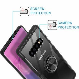 Ntech Ntech Samsung Galaxy S10+ Luxe TPU Back Cover Met Magnetisch Ring houder - Zwart
