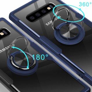 Ntech Ntech Samsung Galaxy S10+ Luxe TPU Back Cover Met Magnetisch Ring houder - Blauw