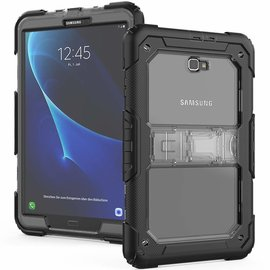 Ntech Ntech Samsung Galaxy Tab A 10.1 (2016) Armor hoesje met standaard &Schouderriem 3 lagen shock proof case - Zwart