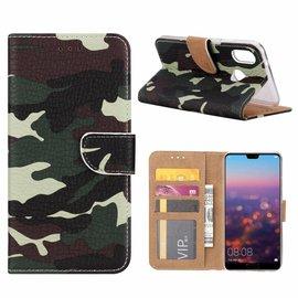Ntech Ntech Samsung Galaxy A40 Camouflage Design Booktype Kunstleer Hoesje Met Pasjesruimte