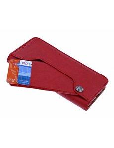 Ntech Ntech Huawei P30 Lite Flip Hoesje & Uitschuifbare Pasjeshouder Rood