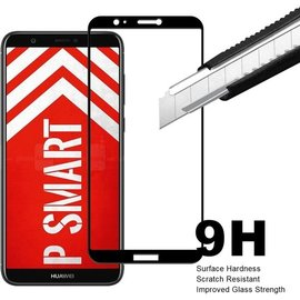 Merkloos Huawei P Smart Scratch-Proof / Anti-Shock / Shatter-proof Full cover Screen Protector / Tempered Glass Zwart