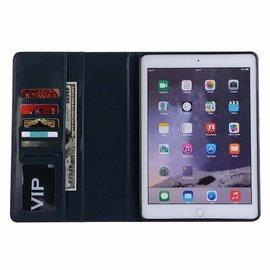Ntech Ntech Apple iPad 9.7 (2018-2017) Premium Luxe hoesje Folio Cover hoesje Met 6 Pasjesruimte Blauw