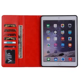 Ntech Ntech Apple iPad 9.7 (2018-2017) Premium Luxe hoesje Folio Cover hoesje Met 6 Pasjesruimte Rood