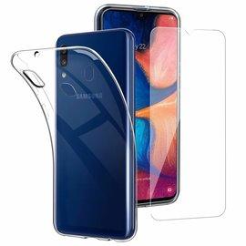 Ntech Ntech Samsung Galaxy A20e TPU transparant hoesje + tempered glass screen protector - Case-Friendly