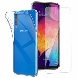 Ntech Ntech Samsung Galaxy 50 TPU transparant hoesje + tempered glass screen protector - Case-Friendly
