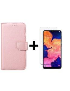 Ntech Ntech Samsung Galaxy A10 Portemonnee Hoesje - Rose goud +Glazen Screenprotector - Case-Friendly