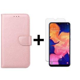 Ntech Ntech Samsung Galaxy A10 Portemonnee Hoesje - Roségoud +Tempered Glass screen protector - Case-Friendly