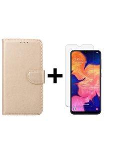 Ntech Ntech Samsung Galaxy A10 Portemonnee Hoesje - Champagne +Glazen Screenprotector - Case-Friendly