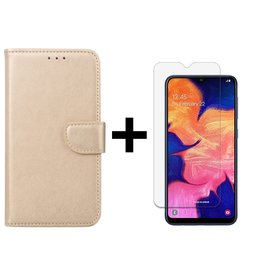 Ntech Ntech Samsung Galaxy A10 Portemonnee Hoesje - Champagne +Tempered Glass screen protector - Case-Friendly
