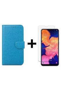 Ntech Ntech Samsung Galaxy A10 Portemonnee Hoesje - Turquoise +Glazen Screenprotector - Case-Friendly