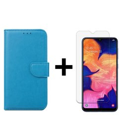 Ntech Ntech Samsung Galaxy A10 Portemonnee Hoesje - Turquoise +Tempered Glass screen protector - Case-Friendly