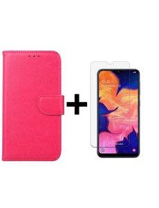 Ntech Ntech Samsung Galaxy A10 Portemonnee Hoesje - Roze +Glazen Screenprotector - Case-Friendly