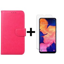 Ntech Ntech Samsung Galaxy A10 Portemonnee Hoesje - Roze +Tempered Glass screen protector - Case-Friendly