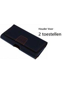Ntech Ntech Universeel Dubbel Riem holster Hoesje | Case voor 2 smartphones - Zwart